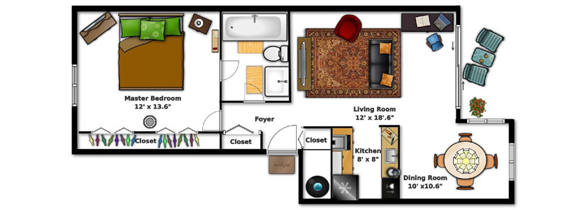 Village Square Apartments Ocala FL - On Bedroom Apartment Floor Plan
