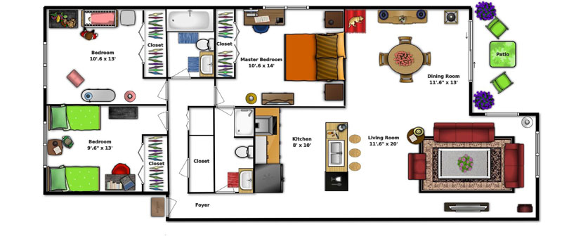 Village Square Apartments Ocala FL - Three Bedroom Apartment Floor Plan