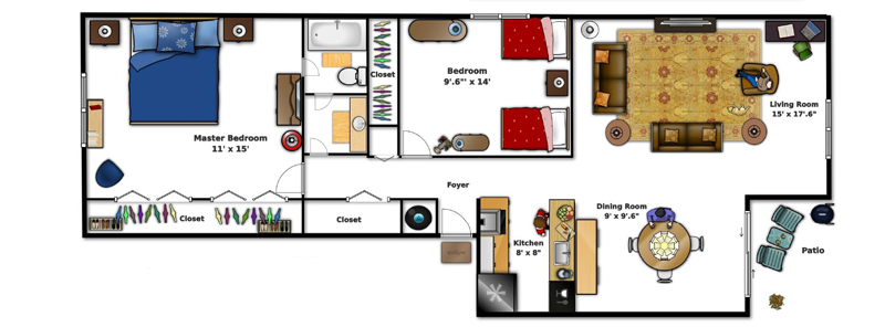 Village Square Apartments Ocala FL - Two Bedroom Apartment Floor Plan